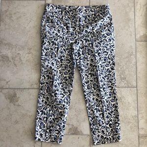 Ann Taylor cropped cotton blue pattern Capri pants